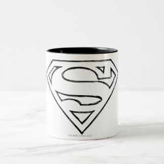 Superman S-Shield | Simple Black Outline Logo Two-Tone Coffee Mug