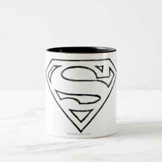 Superman S-Shield | Simple Black Outline Logo Two-Tone Mug