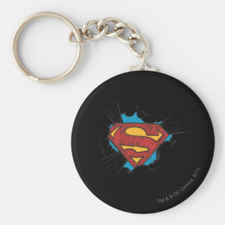 Superman S-Shield | Within Clouds Logo Basic Round Button Key Ring