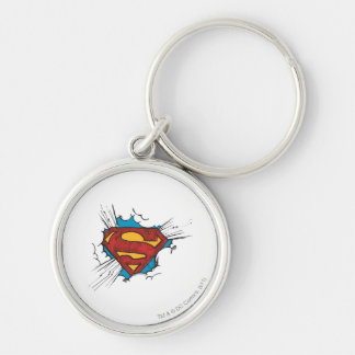 Superman S-Shield | Within Clouds Logo Silver-Colored Round Key Ring