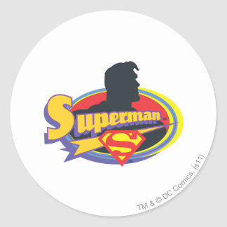 Superman Silhouette Classic Round Sticker