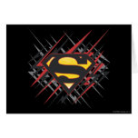 Superman Stylised | Black and Red Strikes Logo Greeting Card