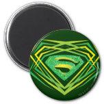 Superman Stylised | Green Decorative Logo 6 Cm Round Magnet