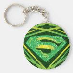 Superman Stylised | Green Decorative Logo Basic Round Button Key Ring
