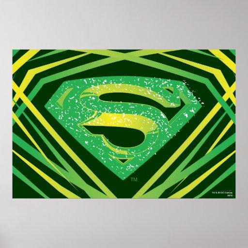 Superman Stylised | Green Decorative Logo Poster