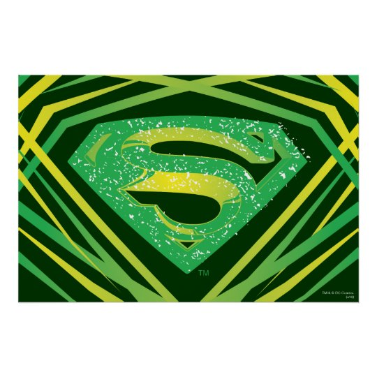 Superman Stylised | Green Decorative Logo Poster