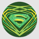 Superman Stylised | Green Decorative Logo Round Sticker