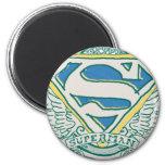 Superman Stylised | Sketched Crest Logo 6 Cm Round Magnet