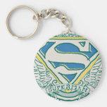 Superman Stylised | Sketched Crest Logo Basic Round Button Key Ring