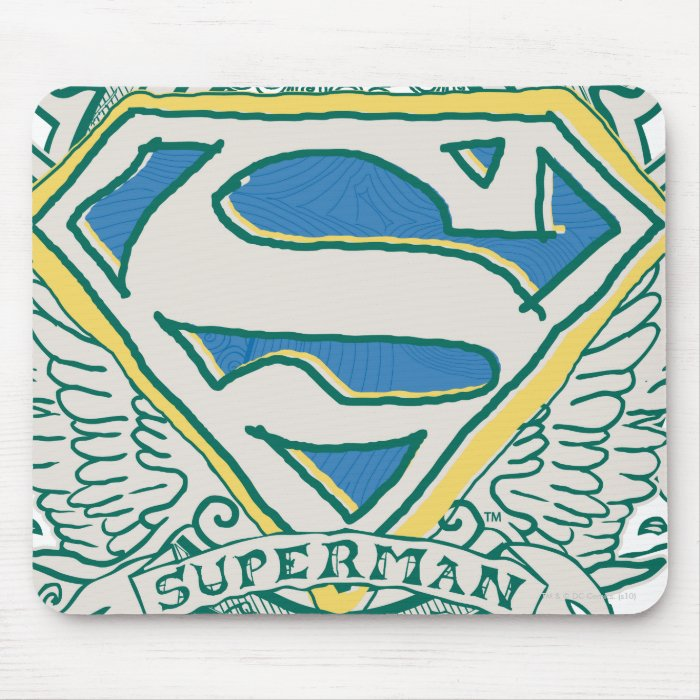 Superman Stylised | Sketched Crest Logo Mouse Pad