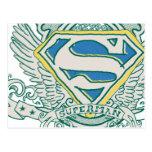 Superman Stylised | Sketched Crest Logo Postcard
