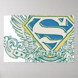 Superman Stylised | Sketched Crest Logo Poster