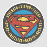 Superman Stylised | Strength Vision Flight Logo Round Sticker