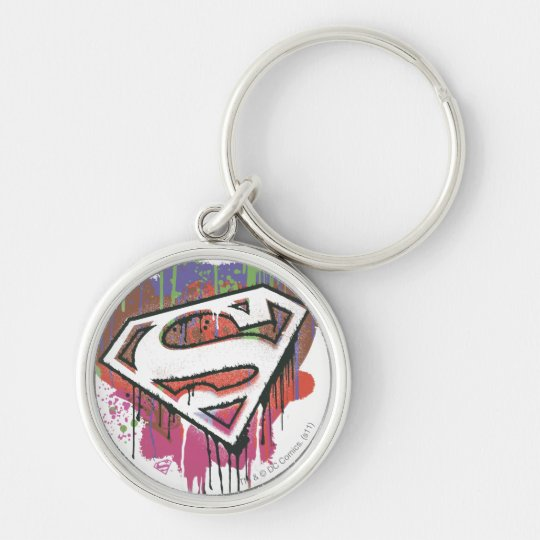 Superman Stylised | Twisted Innocence Logo Silver-Colored Round Key Ring