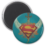Superman Stylised   Wings Teal Background Logo 6 Cm Round Magnet