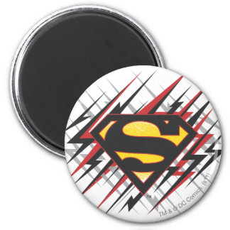 Superman Stylized | Black and Red Strikes Logo 6 Cm Round Magnet