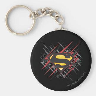Superman Stylized   Black and Red Strikes Logo Key Ring