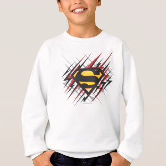 Superman Stylized | Black and Red Strikes Logo Sweatshirt