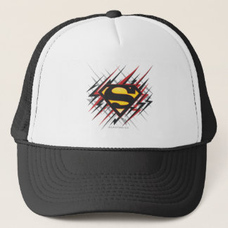Superman Stylized | Black and Red Strikes Logo Trucker Hat