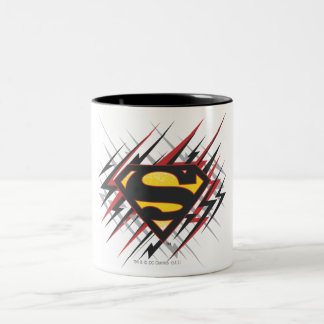 Superman Stylized | Black and Red Strikes Logo Two-Tone Coffee Mug
