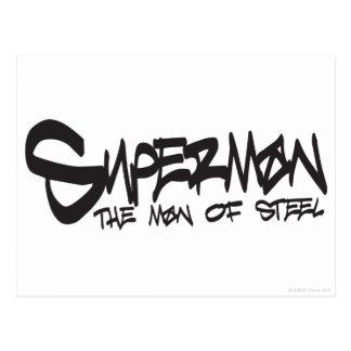 Superman Stylized | Black Letters Graffiti Logo Postcard
