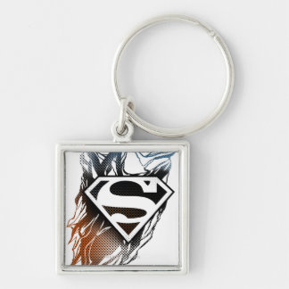Superman Stylized   Blue OrangeLogo Key Ring