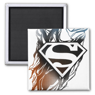 Superman Stylized | Blue Orange Logo Square Magnet