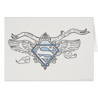Superman Stylized | Blue Outline Wings Logo Greeting Card