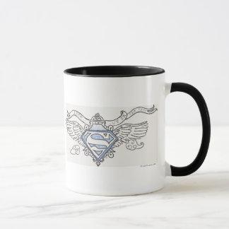 Superman Stylized   Blue Outline Wings Logo Mug