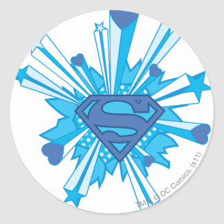 Superman Stylized | Blue Shield Hearts Logo Classic Round Sticker