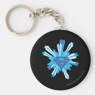 Superman Stylized   Blue Shield Hearts Logo Key Ring