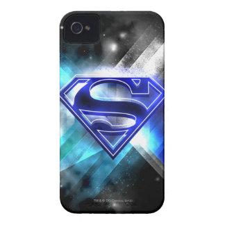 Superman Stylized   Blue White Crystal Logo iPhone 4 Case
