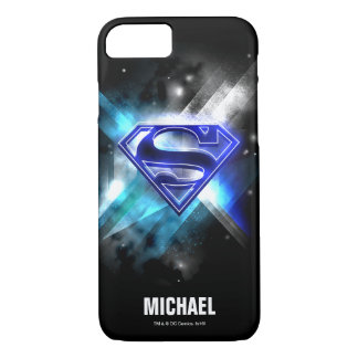Superman Stylized | Blue White Crystal Logo | Name iPhone 8/7 Case