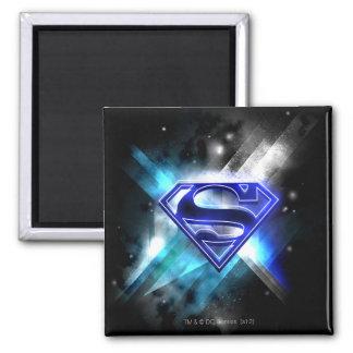 Superman Stylized | Blue White Crystal Logo Square Magnet