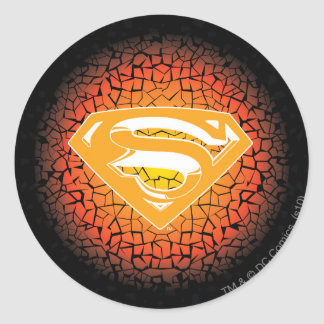 Superman Stylized | Crackle Logo Classic Round Sticker
