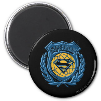 Superman Stylized | Crest with Globe Logo 6 Cm Round Magnet