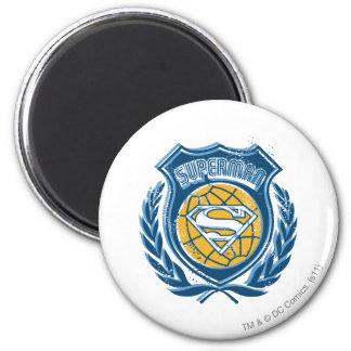 Superman Stylized | Crest with Globe Logo 6 Cm Round Magnet