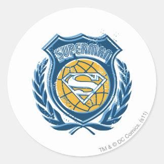 Superman Stylized | Crest with Globe Logo Classic Round Sticker