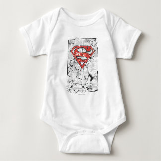 Superman Stylized | Crumpled Comic Logo Baby Bodysuit