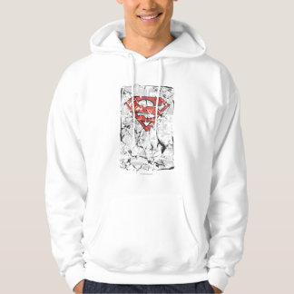 Superman Stylized   Crumpled Comic Logo Hoodie