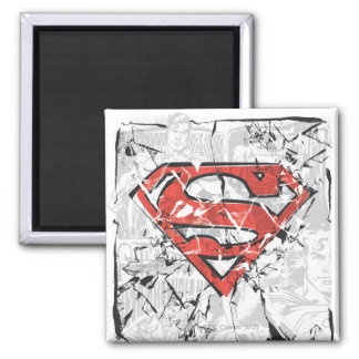 Superman Stylized | Crumpled Comic Logo Square Magnet
