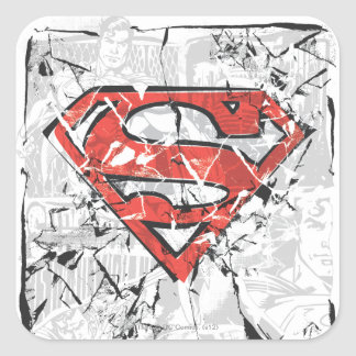 Superman Stylized | Crumpled Comic Logo Square Sticker