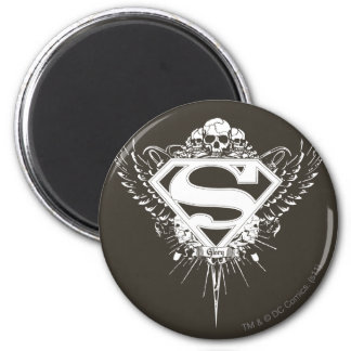 Superman Stylized | Dark Brown Background Logo 6 Cm Round Magnet