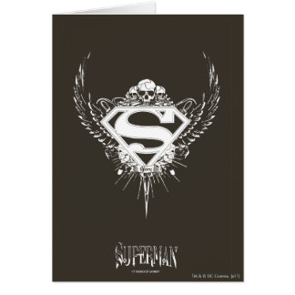 Superman Stylized | Dark Brown Background Logo Card