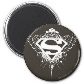 Superman Stylized | Dark Brown Background Logo Magnet