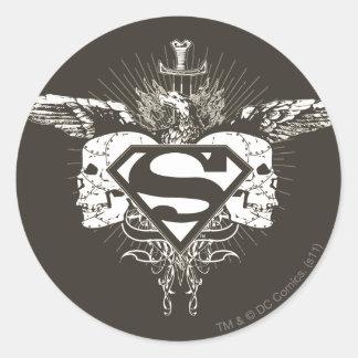 Superman Stylized | Dark Skulls Logo Classic Round Sticker