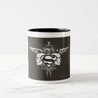 Superman Stylized | Dark Skulls Logo Two-Tone Coffee Mug