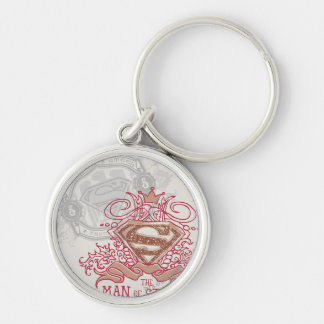 Superman Stylized | Drawn with Crown Logo Silver-Colored Round Key Ring
