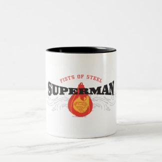 Superman Stylized   Fists of Steel Logo Two-Tone Coffee Mug