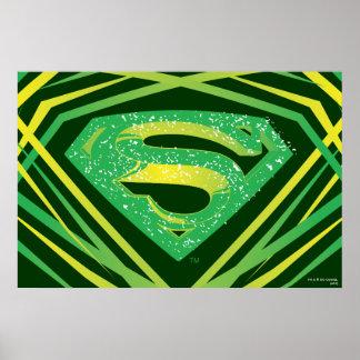 Superman Stylized | Green Decorative Logo Poster